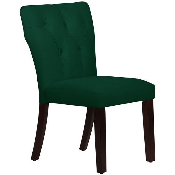 Skyline Furniture Tufted Hourglass Dining Chair In Velvet Emerald