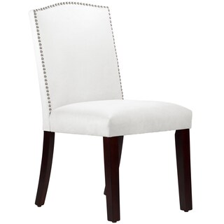 Made to Order Nail Button Arched Dining Chair in Velvet White