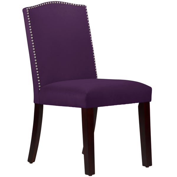 Made To Order Nail Button Arched Dining Chair In Velvet Aubergine Free Ship
