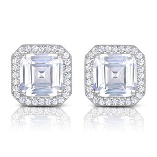 Collette Z Sterling Silver Asscher and Round-cut Cubic Zirconia Stud Style Earrings