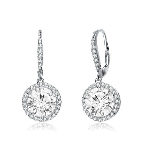 d64d2b63b Collette Z Sterling Silver with Rhodium Plated Clear Round Cubic Zirconia  with Halo Leverback Drop Earrings