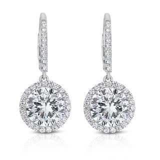 Collette Z Sterling Silver Cubic Zirconi Round Dangling Earrings