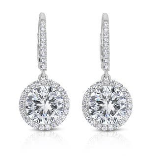 Collette Z Sterling Silver Cubic Zirconi Round Dangling Earrings|https://ak1.ostkcdn.com/images/products/9570549/P16758789.jpg?impolicy=medium