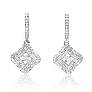 Collette Z Sterling Silver Cubic Zirconia Pave-set Square Dangling Earrings