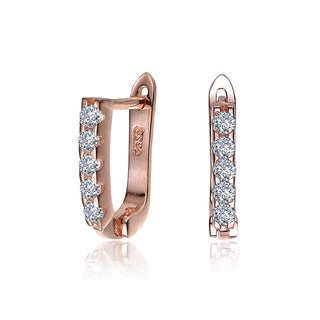 Collette Z Rose-plated Sterling Silver Cubic Zirconia Cuff Earrings