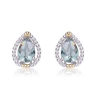 Collette Z Sterling Silver Blue Cubic Zirconia Pear Shape Earrings