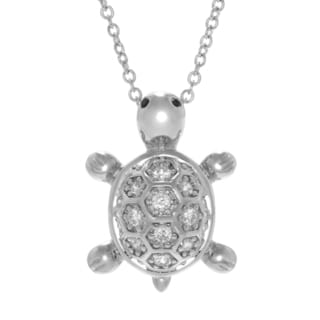 Cubic Zirconia Turtle Rolo-chain Necklace