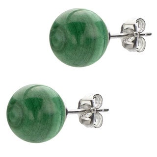 DaVonna Sterling Silver Round Green Malachite Stud Earrings (8-9 mm)