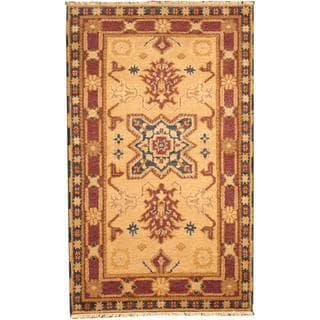 Herat Oriental Indo Hand-knotted Tribal Kazak Beige/ Purple Wool Rug (3' x 5')