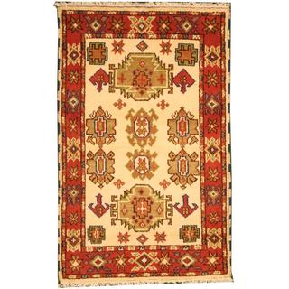 Herat Oriental Indo Hand-knotted Tribal Kazak Ivory/ Red Wool Rug (3' x 5')