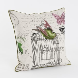 Birdcage Design Printed and Embroidered 18-inch Throw Pillow