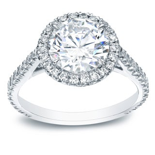 Auriya 18k White Gold 1 4/5ct TDW Certified Round Diamond Engagement Ring (H-I, SI1-SI2)