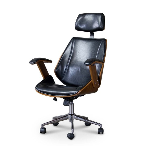 studio hamilton walnut black faux leather office chair with headrest