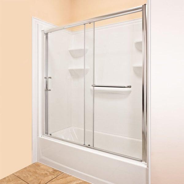 Lesscare 56 60x58 Inch Chrome Sliding Bathtub Door Free