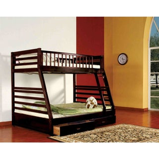 K & B Espresso Twin-over-Full Bunk Bed with Under Drawers