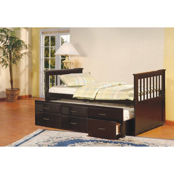 Shop K Amp B Espresso Twin Size Spindle Captain Bed Free