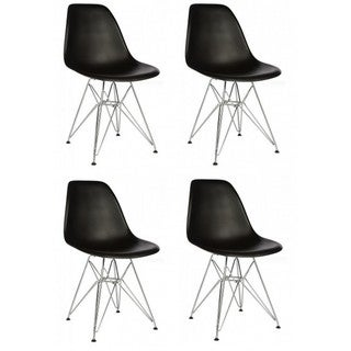 Retro Style Black Accent Shell Chair with Steel Eiffel Legs (Set of 4)