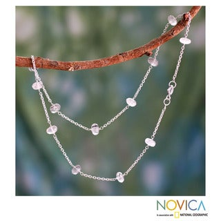 Sterling Silver 'Cool Mystique' Tourmalinated Quartz Necklace (India)