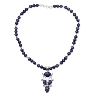Handmade Sterling Silver 'Glorious Blue' Lapis Lazuli Necklace (India)