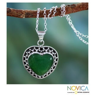Handmade Sterling Silver 'Forever in Love' Agate Necklace (India)