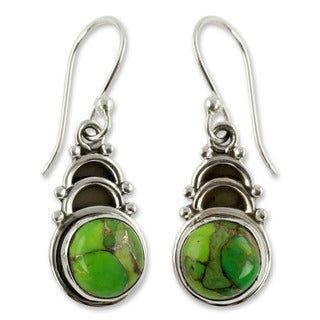 Handmade Sterling Silver 'Forest Hope' Composite Turquoise Earrings (India)