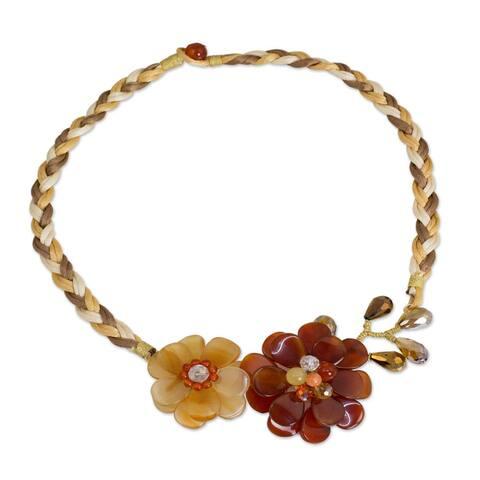 """Carnelian Quartz 'Ginger Blossoms' Flower Necklace (Thailand) - 21.5"""" L x 0.4"""" W"""