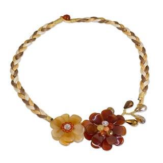Handmade Carnelian Quartz 'Ginger Blossoms' Flower Necklace (Thailand)
