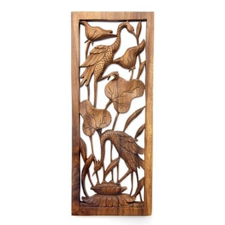 Handmade Suar Wood 'Herons in a Lotus Pond' Relief Panel (Indonesia)