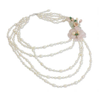 Pearl and Quartz 'Bouquet' Beaded Necklace (8 mm) (Thailand)