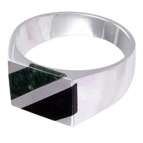 Handmade Sterling Silver Lord of the Land Jade Ring (Guatemala)