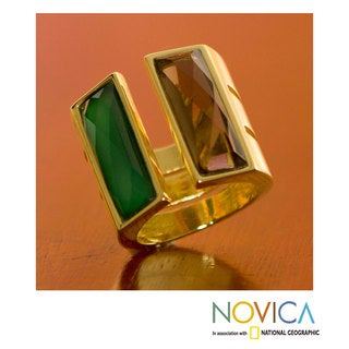 Handcrafted Gold Overlay 'Love Attraction' Quartz Ring (Brazil)