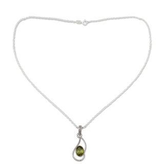 Handmade Sterling Silver 'Hindu Sonnet' Peridot Necklace (India)
