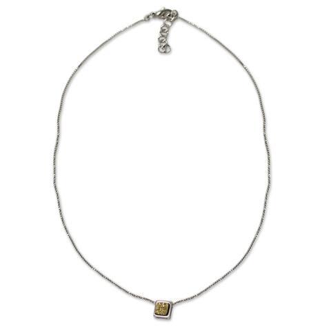 Handmade Gold Druzy Bezel Pendant Necklace (Brazil)