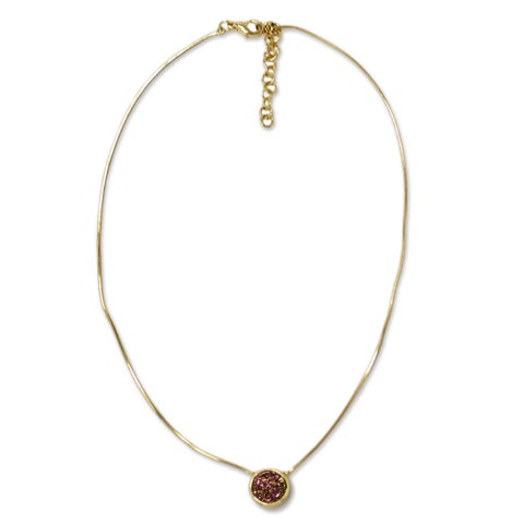 Handmade Gold Overlay 'Lilac Cosmos' Drusy Agate Pendant Necklace (Brazil)