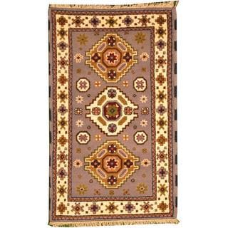 Herat Oriental Indo Hand-knotted Tribal Kazak Grey/ Ivory Wool Rug (3' x 5')