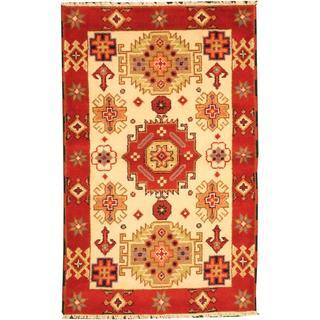 Herat Oriental Indo Hand-knotted Tribal Kazak Ivory/ Red Wool Rug (3' x 5')