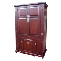 Handmade D-Art Computer Armoire with Roll-away Seat (Indonesia)