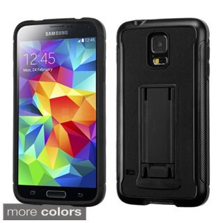 INSTEN Leather Back Advanced Armor Stand Protector Cover For Samsung Galaxy S5