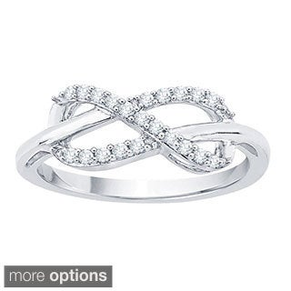 10k White Gold 1 6ct TDW Diamond Infinity Ring J K I1 I2 White Gold