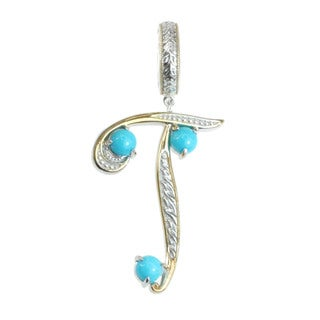 Michael Valitutti Palladium Silver Two-tone 'T' Initial Sleeping Beauty Turquoise Charm