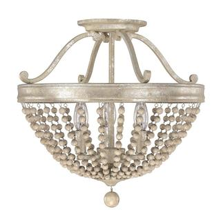 Capital Lighting Adele Collection 3-light Painted Silver Quartz Semi Flush Light