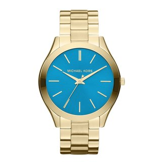 Michael Kors Women's MK3265 Slim Runway Goldtone Turquoise Dial Watch