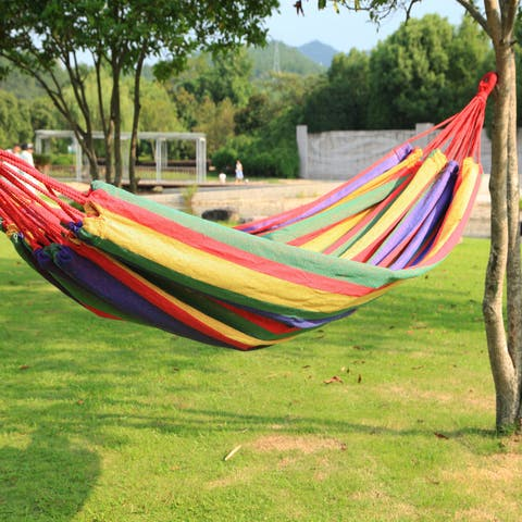 Adeco Naval-style Cayenne Color Tree Hanging 63-inch Wide Cotton Fabric Canvas Suspended Bed Hammock