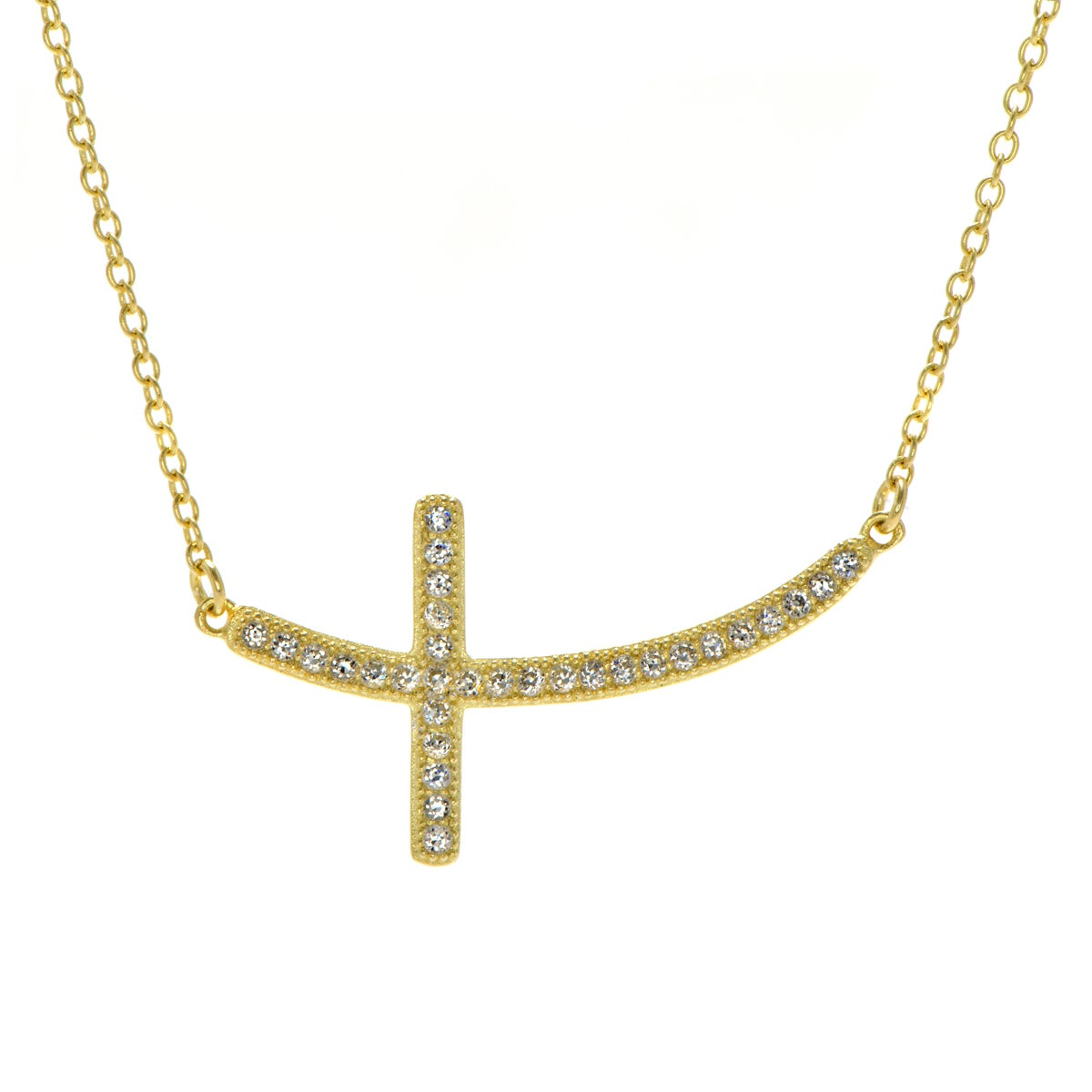 Sterling Silver Curved Cubic Zirconia Sideways Cross Neck...