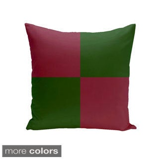 Square 16-inch Holiday Brights Collection Two-tone Geometric Pillow