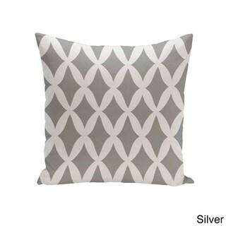 Square 16-inch Holiday Brights Collection Diamond Lattice Geometric Pillow (Silver)