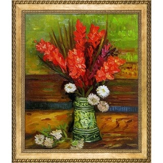 Vincent Van Gogh Vase with Red Gladioli Hand Painted Framed Canvas Art