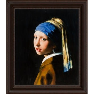 Johannes Vermeer Girl with Pearl Earring Hand Painted Framed Canvas Art