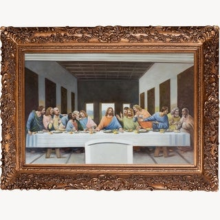 Leonardo Da Vinci The Last Supper Hand Painted Framed Canvas Art