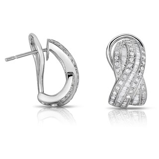 Eloquence 18k White Gold 1 1/4ct TDW Diamond Cuff Earrings (H-I, SI2)